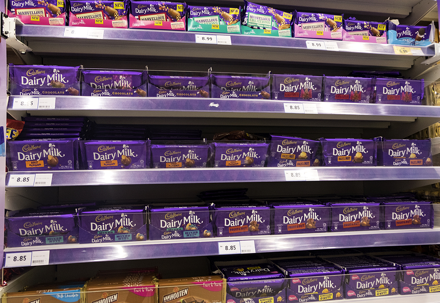Cadbury chocolates in a grocery shelf