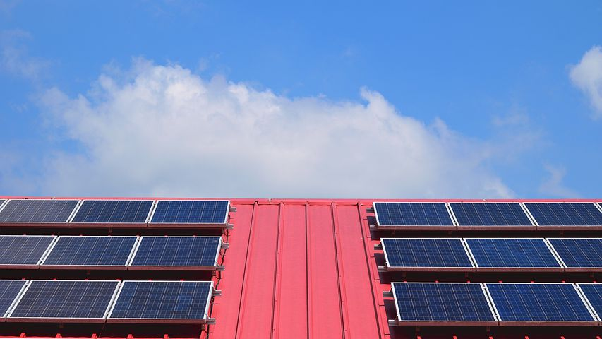 commercial solar panels in the roof